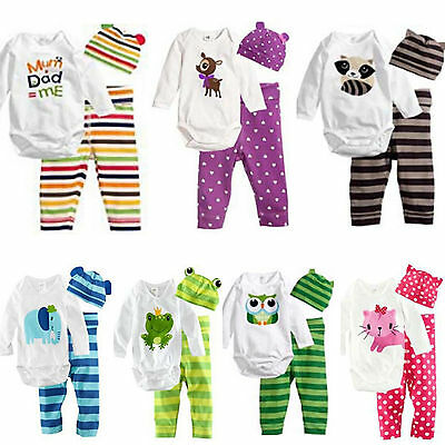 3pcs Newborn Baby Boy Girl Romper Pants Hat Toddler Outfits Set Clothes Babygrow
