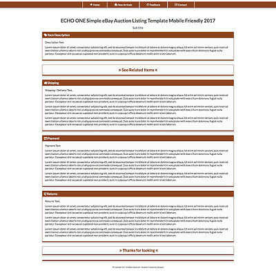 Saddle Brown eBay Auction Listing Template HTML Responsive Mobile Friendly 2019