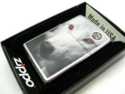 ZIPPO Full Size Street Chrome WHITE WOLF w/ RED Eyes Windproof Lighter! 28877