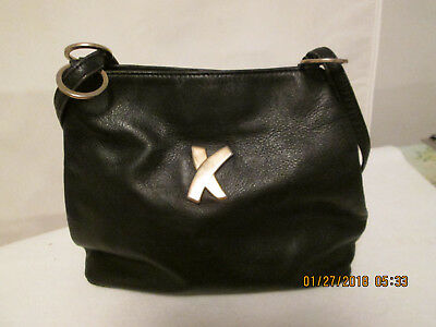 Paloma Picasso Vintage Black Leather Shoulder Bag Purse