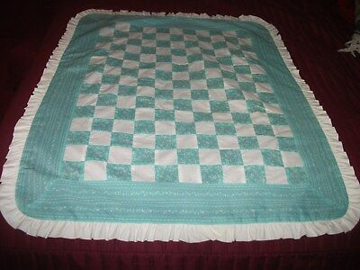 Aqua Green and White Checkerboard Ruffled Quilt Top or Lap Blanket