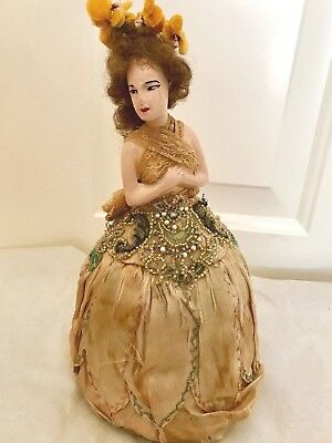 ANTIQUE VANITY HALF DOLL PIN CUSHION Beaded Skirt