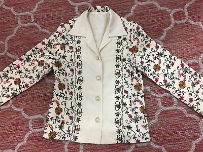 """VTG Crewel Embroidery Gorgeous Fully Lined 60's 70's Hippie Jacket ~ Bust 36"""""""