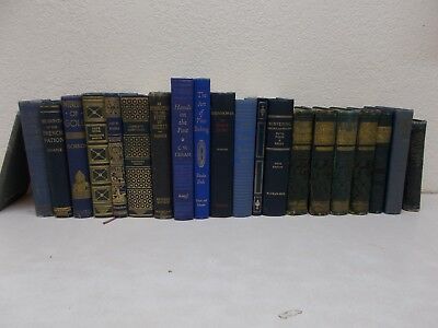 21 Blue Gold Decorative Antique Vintage Staging Books Shabby Library Wedding