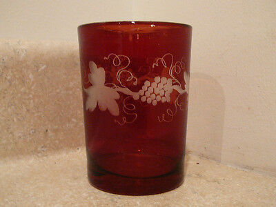 Antique Bohemian Czech Art Glass Tumbler Red To Clear Rough Pontil Grapes Leaves