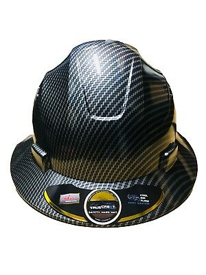 HDPE Hydro Dipped Black Carbon Fiber Full Brim Hard Hat with Fas-trac Suspension