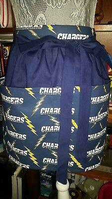 New Handmade Half Apron Los Angeles Chargers Fabric Waitress Server Waist Pocket