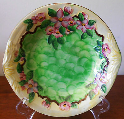 Vintage Maling Hand-Painted Handled Bowl 'Embossed Blossom Bough' Green c1954