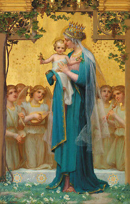 Vintage Painting Print On Canvas Ready to Hang Madonna Baby Jesus BIG Beautiful