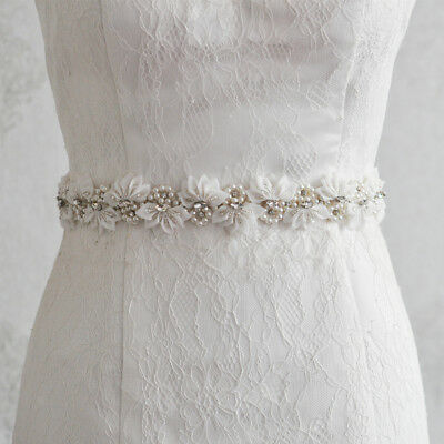 Crystal Wedding Dress Belt Bride Bridesmaid Party Pearls Flower Applique Sash