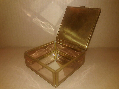 Enesco Mexico Vintage Trinket Jewelry Box Brass Glass Flower Lid Mirror Bottom