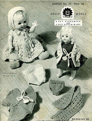 "Vintage Knitting  Pattern Copy To Knit - To Fit 6/8/10/12/14/16"" Dolls -  1950's"