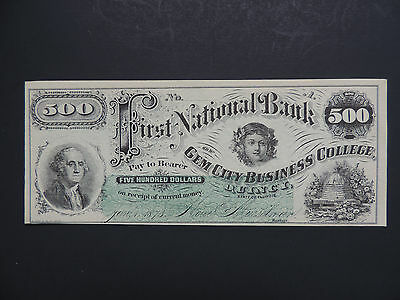 1873 $500 First National Bank Gem City Business College-Illinois  -Rare Note