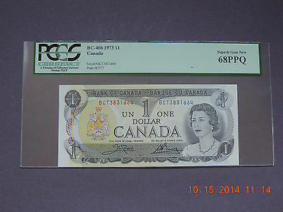 CANADA -  $1   1973 BC-46b   - PCGS  SUPER GEM NEW  68 PPQ