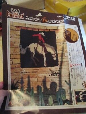 """""""rodeo""""latch Hook Kit-Full.""""phentex"""" Deluxe.wall Hanging.& All Wool. Boxed."""