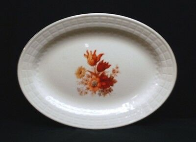 "Vintage Edwin Knowles 14"" Oval Serving Platter 22 Karat Gold Orange Wild Flowers"