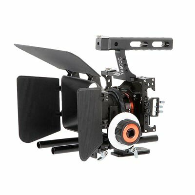 Video DSLR Camera Cage Stabilizer Kit + Follow Focus + Matte Box For GH4 A7 A7R