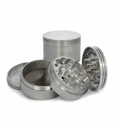 "Metal Aluminum Herb Spice Grinder 4 Piece 2.5"" 63mm with Screen crusher gun"