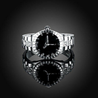 Creative Women Quartz 925 Silver Finger Ring Watch Alloy Personality Jewelry*