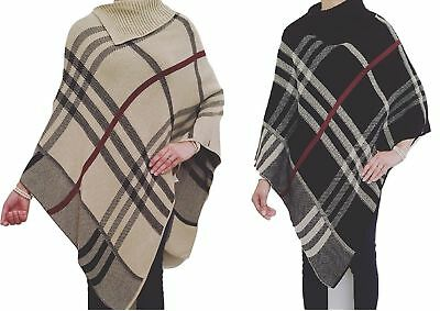 Womens Ladies Knitted Tartan Check Polo Neck Warm Poncho Cape Cardigan Shawl Top
