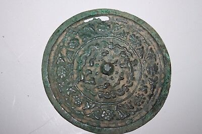 CHINA. GENUINE MING DYNASTY  16th/17th CENTURY  BRONZE MIRROR WITH DECORATION.