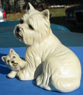 Vtg Rare J Knowles HHH West Highland White Westie Dog & Pup China Japan Figurine