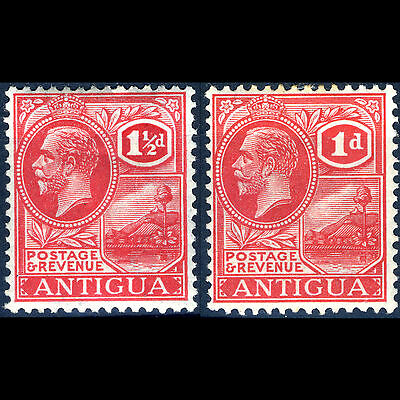 ANTIGUA 1921-29 1d & 1.5d Carmine Red. SG 63 & 68. Lightly Hinged Mint. (CA22T)