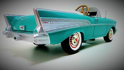 1957 Chevy Pedal Car Vintage Belair Custom Metal Collector Read Length 9 Inches