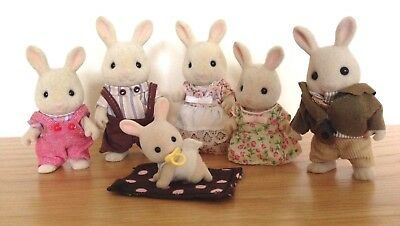 Sylvanian Families Milk Rabbit Family of 6 Fully Clothed in Excellent Condition