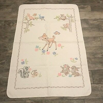 Vtg WHITE Stamped CROSS STITCH baby BLANKET CRIB COVER QUILT Completed Bambi