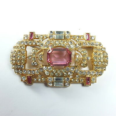 Fab Art Deco Gold Tone Diamond & Pink Paste Large French Brooch Trombone Clasp