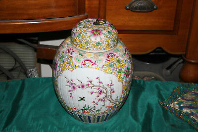 Large Chinese Lidded Porcelain Pottery Vase Jar-Ribbed Body-Painted Floral