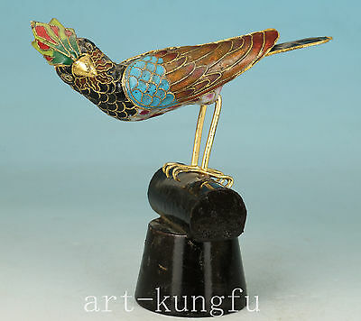 Chinese Bird Cloisonne Hand Collect Statue Figure On Wood Stand noble gift