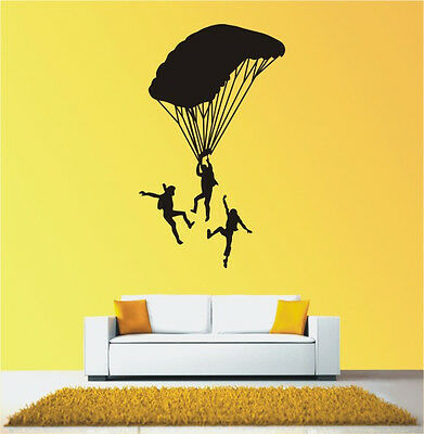 """Bathroom,Bedroom,Saying""""Men Flying with Parachute""""quote wall Sticker Vinyl-330"""