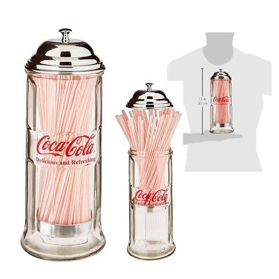 Coca Cola Straw Dispenser Glass Holder Jar Vintage Coke Bottle Soda Drinking