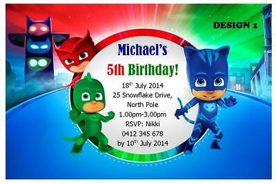 20 X PJ MASKS CHILDRENS PERSONALISED BIRTHDAY PARTY INVITATIONS FREE MAGNETS