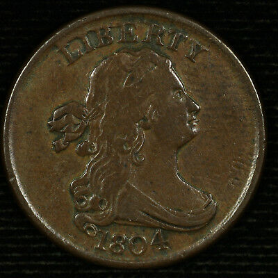 Draped Bust Half Cent 1804 VF. C-8 Spiked Chin. Lot # 9012-60-001