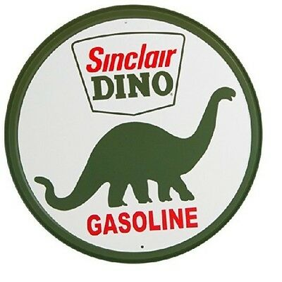 "SINCLAIR DINO GASOLINE Bintage Look Tin Metal Sign Round 12"" Garage Decor"