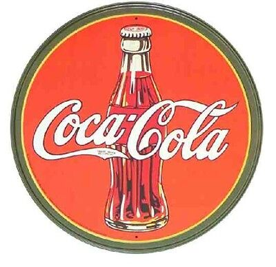 Coca-Cola 30's Round Bottle Logo Metal Tin Sign Retro Vintage Look Garage