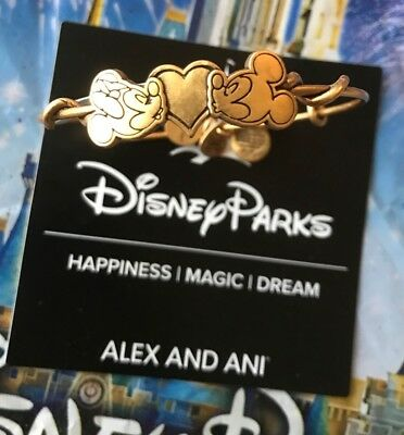 Gold Mickey and Minnie Mouse Kissing Alex & Ani Disney Bangle Bracelet New
