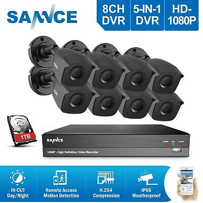 SANNCE Full 1080P Video 5IN1 8CH DVR 100ft Night Vision Security Camera System