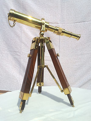 Antique Brass Vintage Spyglass With Wooden Tripod Collectible Telescope Handmade