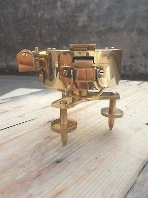 Antique Brass Victorian Heavy Stand Level Polished Surveying Brunton Compass Gif