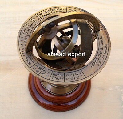 Antique Brass Base Nautical Armillary Working Astrolable Sphere Wooden Condition