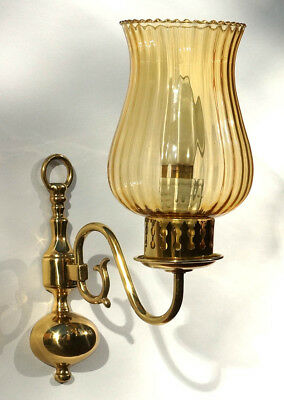 Pair of Flemish Wall Lamps in Solid Brass. Single lights x2 with Glass Shades.