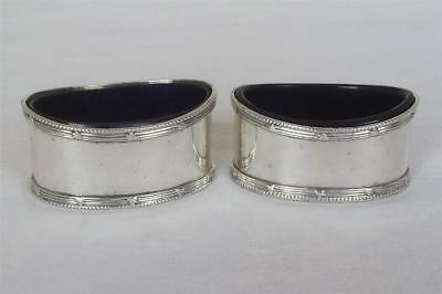 A Large Antique Pair Of Solid Sterling Silver Edwardian Open Salts Dates 1906-08