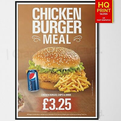 Takeaway Fast Food Restaurant Takeaway Menu Burger Leaflet Poster Chips Meal Box