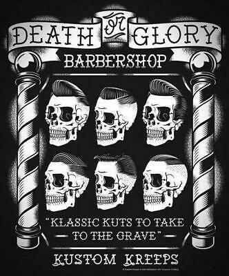 Death Glory Barber Shop Vintage Retro Metal Tin Sign Poster Wall Plaque
