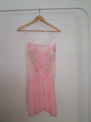 Vintage Baby-Pink Sheer Embroidered Slip Dress
