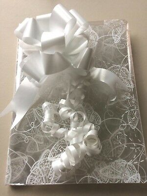 WHITE BUTTERFLY CELLOPHANE GIFT WRAP  80cm. Birthday Baby Wedding..free pull bow